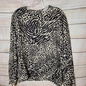 Adrianna Papell Vintage Animal Print Silk Blouse, Size 12